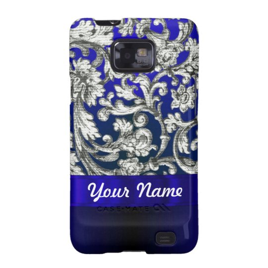 Pretty floral damask on blue galaxy s2 cover
