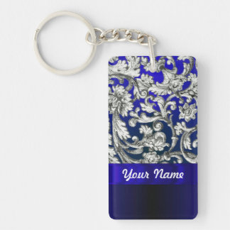 Pretty floral damask on blue Double-Sided rectangular acrylic keychain