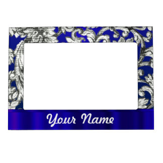 Pretty floral damask on blue magnetic photo frame