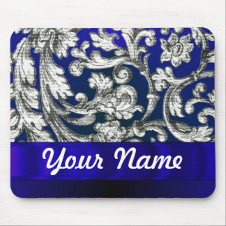 Pretty floral damask on blue mouse pads