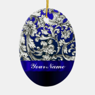Pretty floral damask on blue christmas tree ornaments