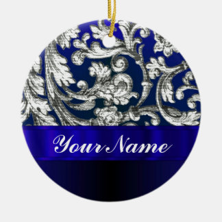 Pretty floral damask on blue ornament