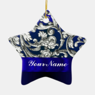 Pretty floral damask on blue christmas ornament
