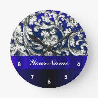 Pretty floral damask on blue round clock