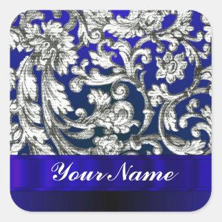 Pretty floral damask on blue sticker