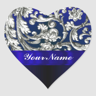 Pretty floral damask on blue heart stickers