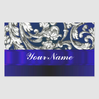 Pretty floral damask on blue rectangle stickers