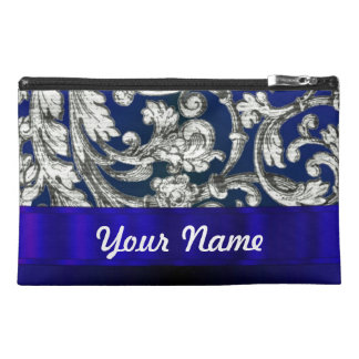 Pretty floral damask on blue travel accessory bag