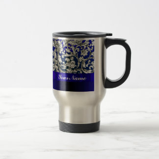 Pretty floral damask on blue travel mug
