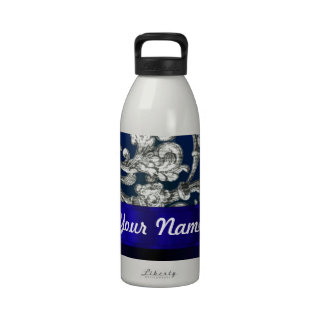 Pretty floral damask on blue water bottle