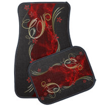 Pretty Floral Deep Red Marble Design Car Floor Mat