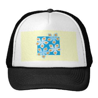 Pretty floral design, blue and cream. hats
