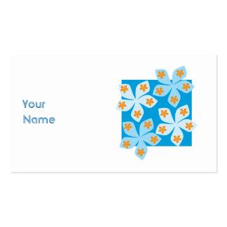 Pretty floral design, blue, orange and white. business card