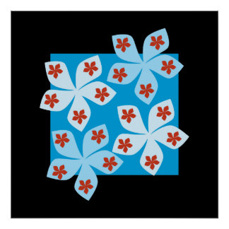 Pretty floral design, blue, red and black. posters