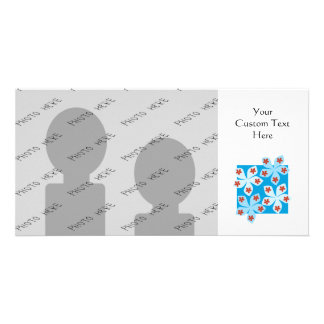 Pretty floral design, blue, red and white. card