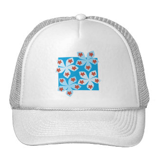 Pretty floral design, blue, red and white. trucker hats