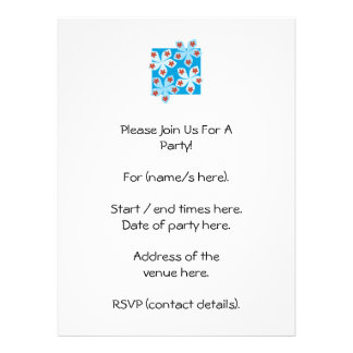 Pretty floral design, blue, red and white. personalized invite