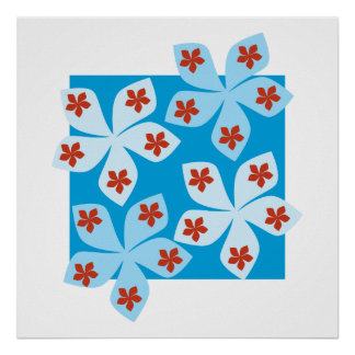 Pretty floral design, blue, red and white. poster