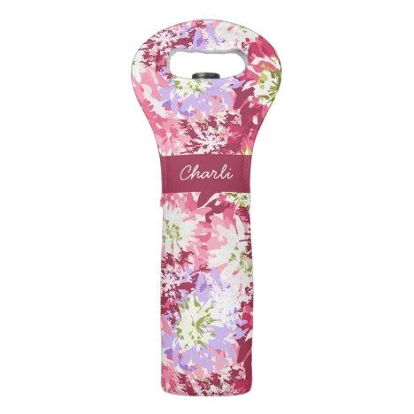 Pretty floral design in pink and mauve monogram wine bag
