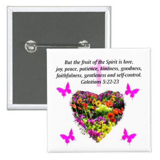 PRETTY FLORAL GALATIANS FRUITS OF THE SPIRIT 2 INCH SQUARE BUTTON