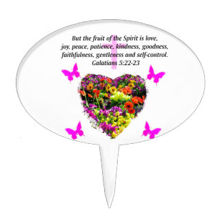 PRETTY FLORAL GALATIANS FRUITS OF THE SPIRIT CAKE TOPPER