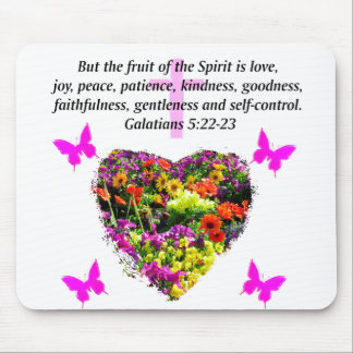 PRETTY FLORAL GALATIANS FRUITS OF THE SPIRIT MOUSE PAD