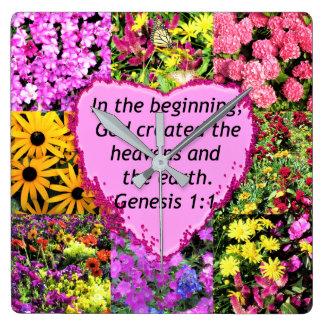 PRETTY FLORAL GENESIS 1:1 PHOTO DESIGN SQUARE WALL CLOCK