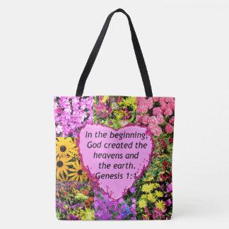 PRETTY FLORAL GENESIS 1:1 PHOTO DESIGN TOTE BAG