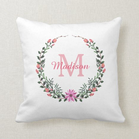 Pretty Floral Girl's Monogram Personalized Name Throw Pillow