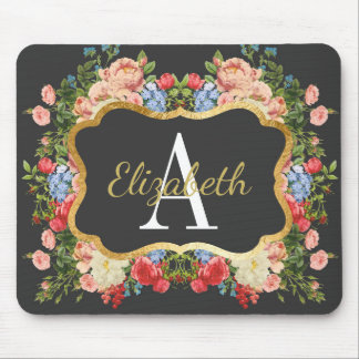 Pretty Floral Gold Framed Monogrammed Mouse Pad