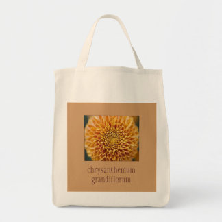 Pretty Floral Grocery Tote with chrysanthemum
