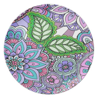 Pretty Floral Hand Drawn Doodle Pattern Dinner Plate