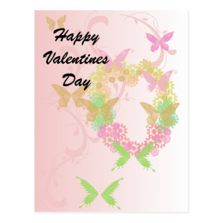 Pretty Floral Heart and Butterflies Valentine Postcard
