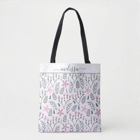 Pretty floral illustration falling botanical tote bag