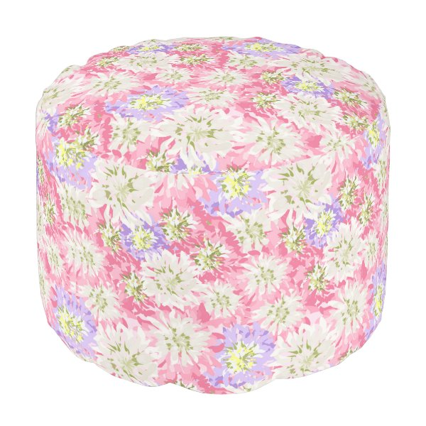 Pretty floral in pinks, mauve and white pouf