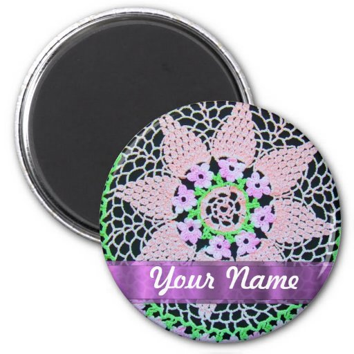 pretty floral lace 2 inch round magnet