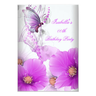 Pretty Floral Lilac Butterfly Birthday Party 3.5x5 Paper Invitation Card