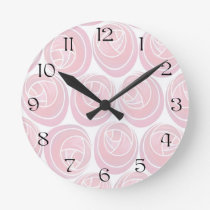 Pretty Floral Mackintosh Roses Pattern Wall Clock