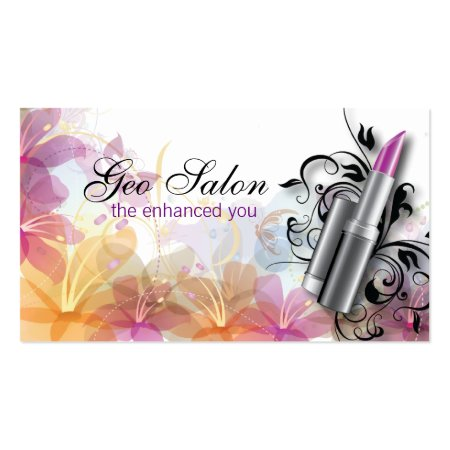 Pink Lipstick Against Pretty Floral Background Makeup Artist Business Cards