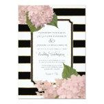 Pretty Floral Modern Elegant Black White Stripe 5x7 Paper Invitation Card