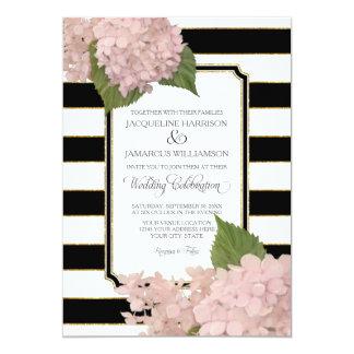 Pretty Floral Modern Elegant Black White Stripe Card