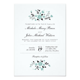 Pretty Floral Modern Stylish Wedding Invite Aqua