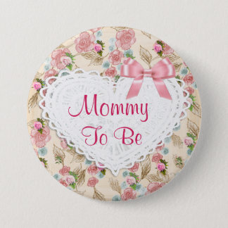 Pretty Floral Mommy to be Baby Shower button