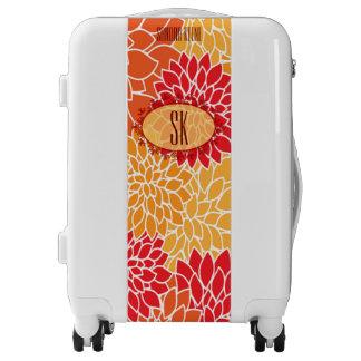 Pretty floral monogram luggage trolley