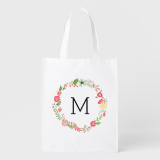 Pretty Floral Monogram Reusable Grocery Bag