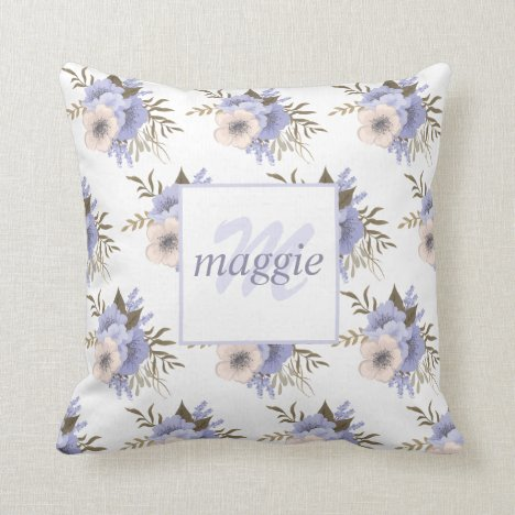 Pretty Floral Monogrammed Throw Pillow