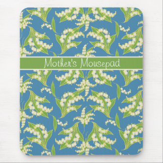 Pretty Floral Mousepad: Lilies of the Valley, Blue Mouse Pad