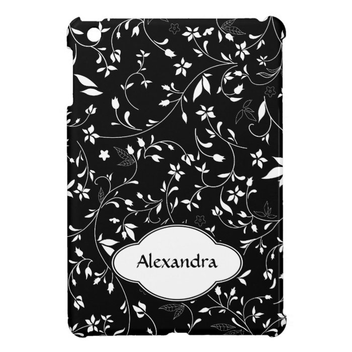 Pretty Floral Pattern Black and White Personalized Case For The iPad Mini