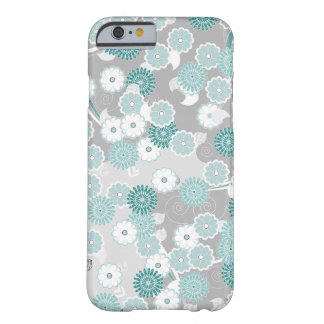Pretty Floral Pattern in Teal, Aqua and Grey Barely There iPhone 6 Case