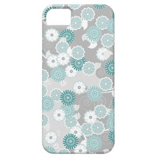 Pretty Floral Pattern in Teal, Aqua and Grey iPhone 5 Covers